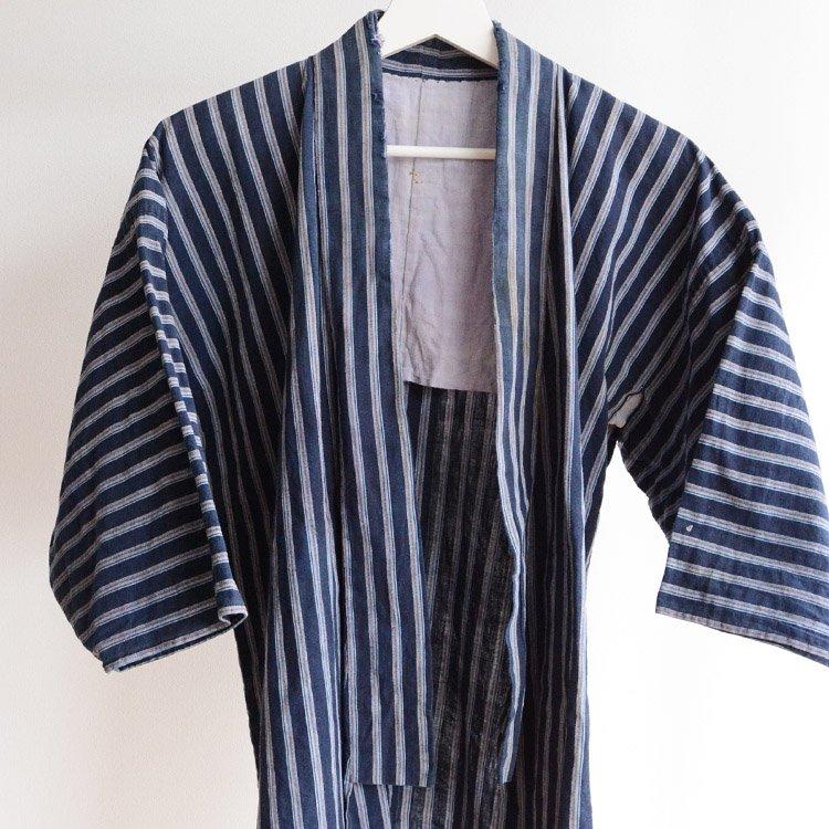 野良着 古着 襤褸 木綿 縞模様 着物 ジャパンヴィンテージ 20〜30年代 | Noragi Jacket Japanese Boro Cotton Kimono Vintage 20s 30s