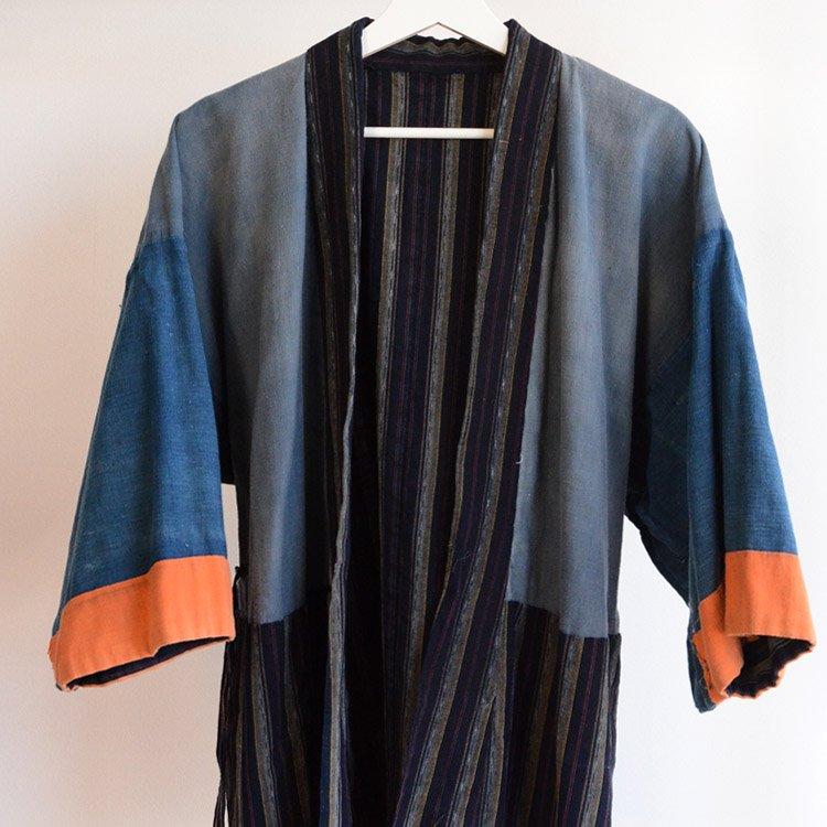野良着 藍染 クレイジーパターン 木綿 縞模様 ジャパンヴィンテージ 大正 昭和 | Noragi Jacket Indigo Kimono Japan Vintage Crazy Pattern
