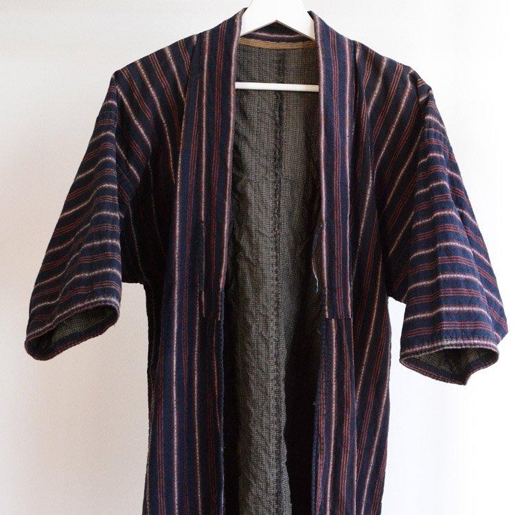 刺し子 野良着 藍染 木綿 縞模様 着物 ジャパンヴィンテージ 明治 大正 | Noragi Jacket Sashiko Kimono Indigo Aizome Japan Vintage