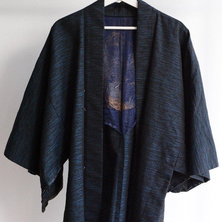 裏勝り 羽織 着物 風景 刺繍 ジャパンヴィンテージ 昭和 | Haori Men Kimono Jacket Uramasari Japan Vintage