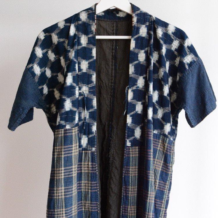 野良着 刺し子 藍染 絣 クレイジーパターン ジャパンヴィンテージ 明治 大正 | Noragi Sashiko Boro Kimono Jacket Indigo Japan Vintage