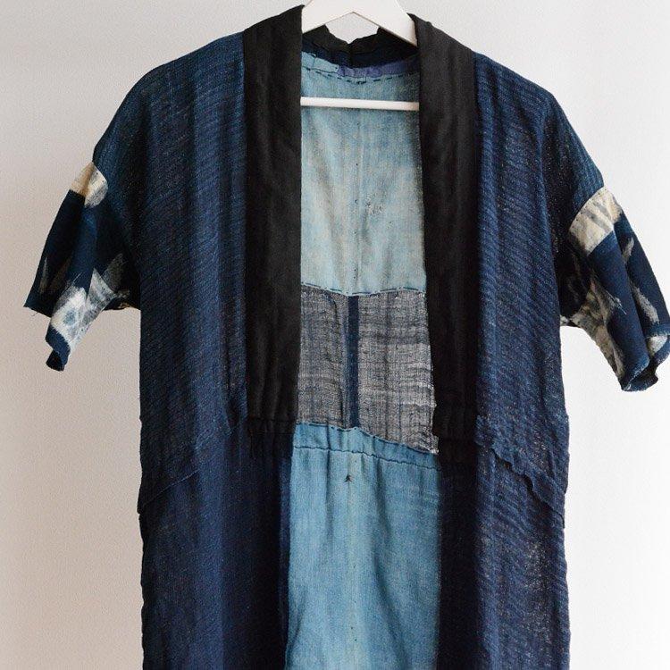 野良着 藍染 麻 木綿 絣 クレイジーパターン ジャパンヴィンテージ 明治 大正 | Noragi Jacket Indigo Hemp Cotton Kasuri Japan Vintage