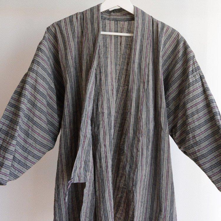 上っ張り 着物 野良着 木綿 縞模様 ジャパンヴィンテージ 50年代   Noragi Jacket Cotton Stripe Japan Vintage Uwappari Kimono 50s