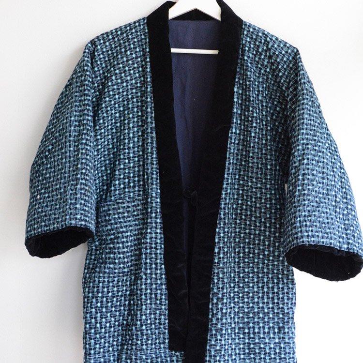 <img class='new_mark_img1' src='https://img.shop-pro.jp/img/new/icons8.gif' style='border:none;display:inline;margin:0px;padding:0px;width:auto;' />綿入れ半纏 藍染 絣 木綿 ジャパンヴィンテージ 40〜50年代 | Hanten Padded Indigo Kimono Jacket Men Kasuri Japan Vintage