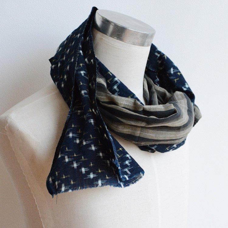 古布リメイク スカーフ ストール 襤褸 藍染 絣 縞模様 つぎはぎ 木綿 | Boro Scarf Stall Remake Indigo Blue Kasuri Stripe Cotton