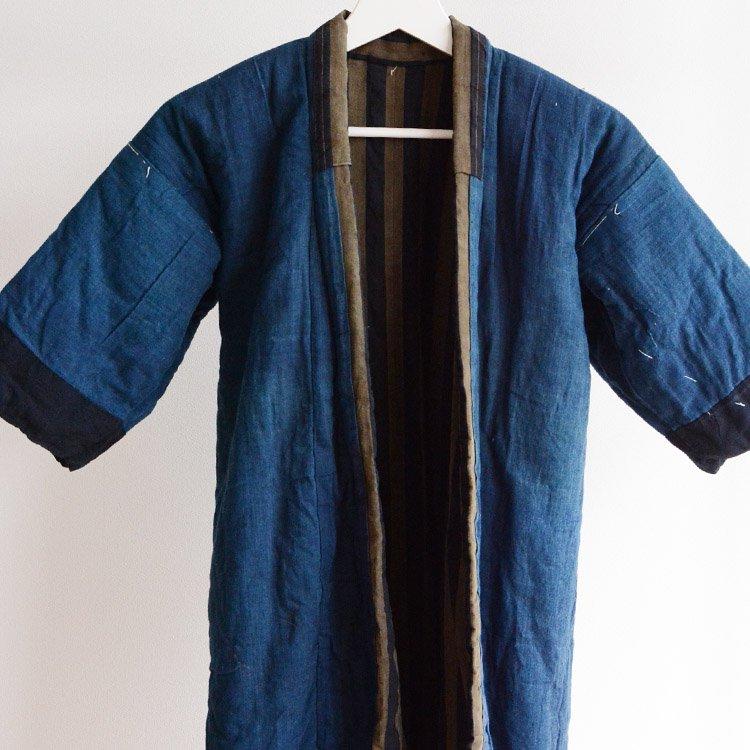 綿入れ半纏 藍染 着物 木綿 ジャパンヴィンテージ 大正〜昭和初期 子供用 | Hanten Padded Indigo Kimono Jacket Japan Vintage 10〜30s