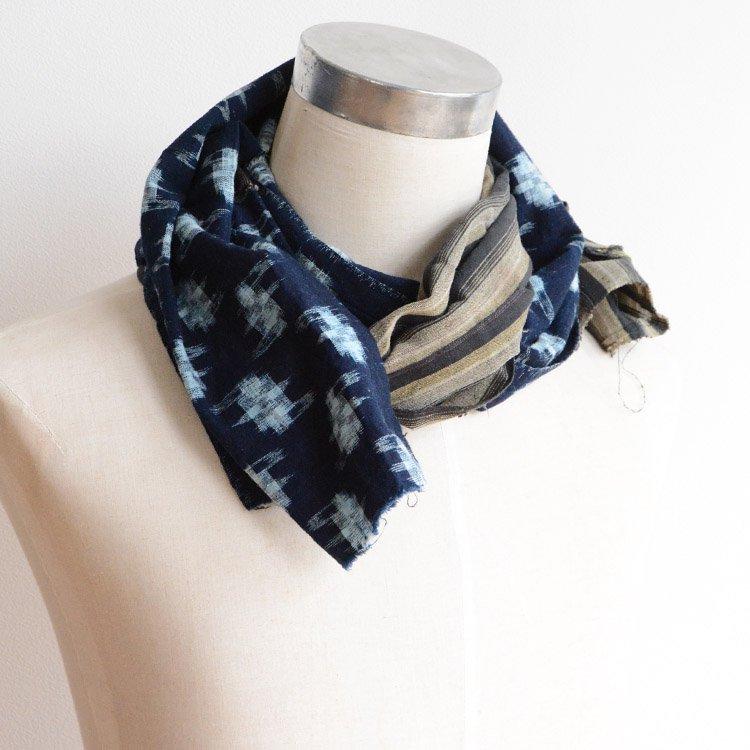 襤褸 リメイク スカーフ ストール 古布 藍染 絣 縞模様 つぎはぎ 木綿   Boro Scarf Remake Stall Indigo Kasuri Stripe Cotton Cloth