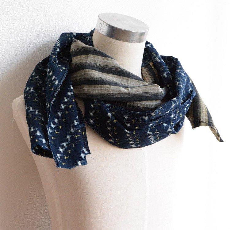 古布リメイク 襤褸 スカーフ ストール 藍染 絣 縞模様 つぎはぎ パッチワーク 木綿 | Japanese Fabric Scarf Boro Remake Indigo Kasuri Cotton