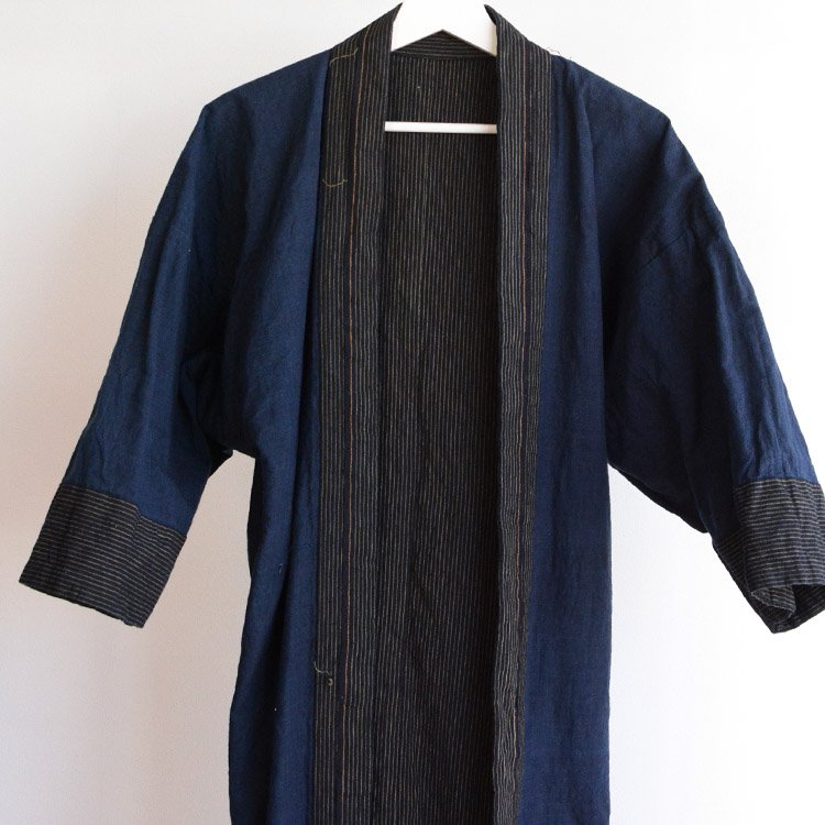 <img class='new_mark_img1' src='https://img.shop-pro.jp/img/new/icons50.gif' style='border:none;display:inline;margin:0px;padding:0px;width:auto;' />野良着 藍染 木綿 縞模様 ジャパンヴィンテージ 大正 昭和   Noragi Jacket Indigo Kimono Cotton Stripe Japan Vintage