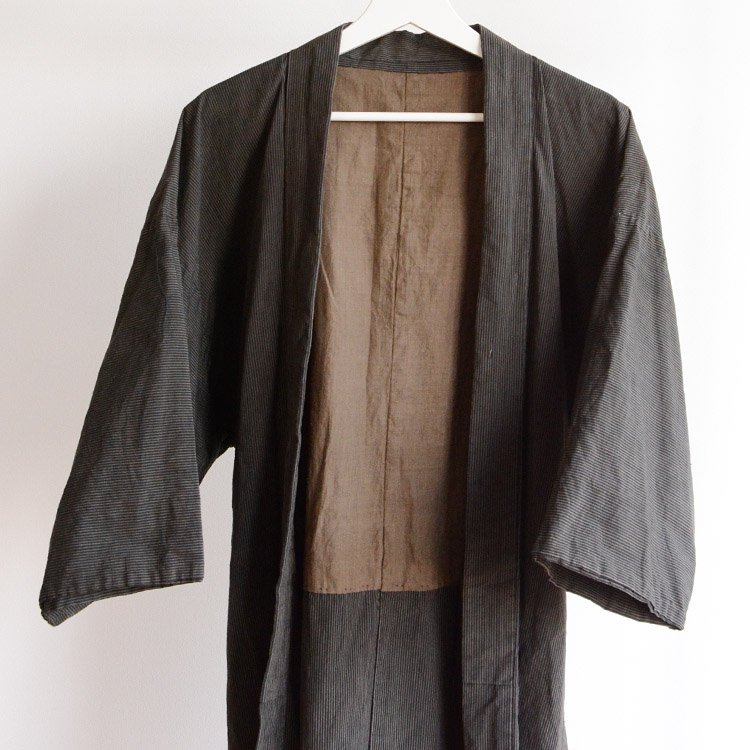 着物 襤褸 つぎはぎ リペア 男性用 羽織風 ジャパンヴィンテージ | Kimono Jacket Men Japan Vintage Boro Stripe Haori Style
