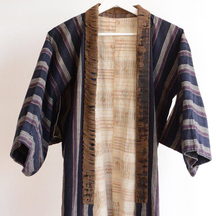 野良着 古着 藍染 襤褸 木綿 縞模様 ジャパンヴィンテージ 大正 昭和 | Noragi Indigo Kimono Jacket Japan Vintage Cotton Stripe Boro