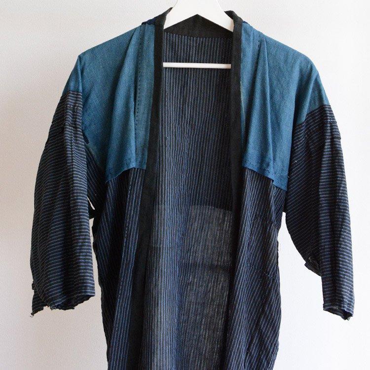 野良着 藍染布 裏地 襤褸 つぎはぎ リペア 木綿 縞模様 ジャパンヴィンテージ | Noragi Jacket Indigo Fabric Boro Patchwork Japan Vintage