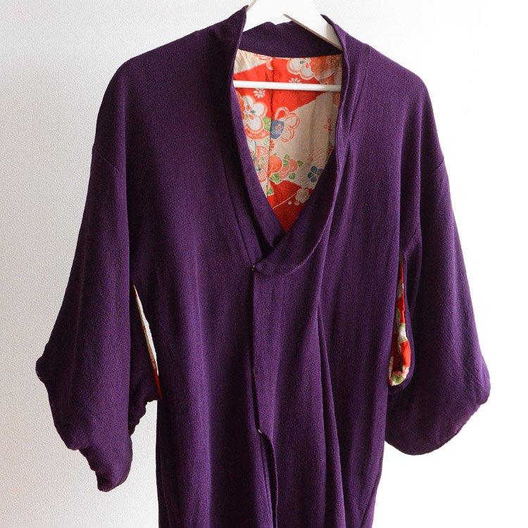 道行コート アンティーク ちりめん 襤褸 リペア ジャパンヴィンテージ   Michiyuki Coat Kimono Purple Japan Vintage