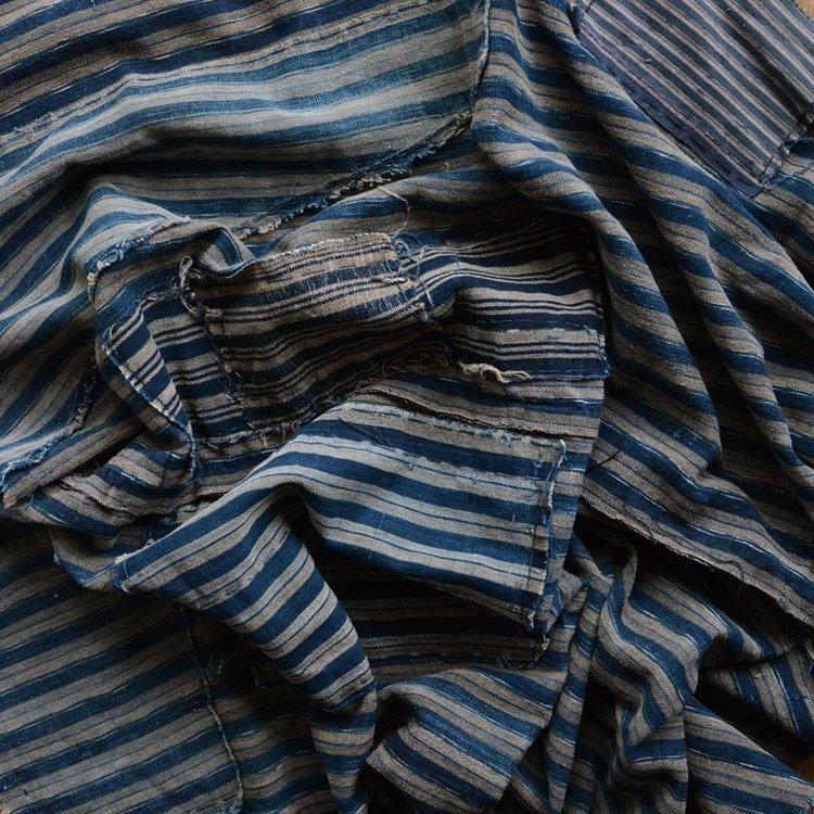 襤褸布 藍染 木綿 つぎはぎ 縞模様 ジャパンヴィンテージ ファブリック 明治 大正   Japanese Fabric Vintage Boro Indigo Cotton Textile