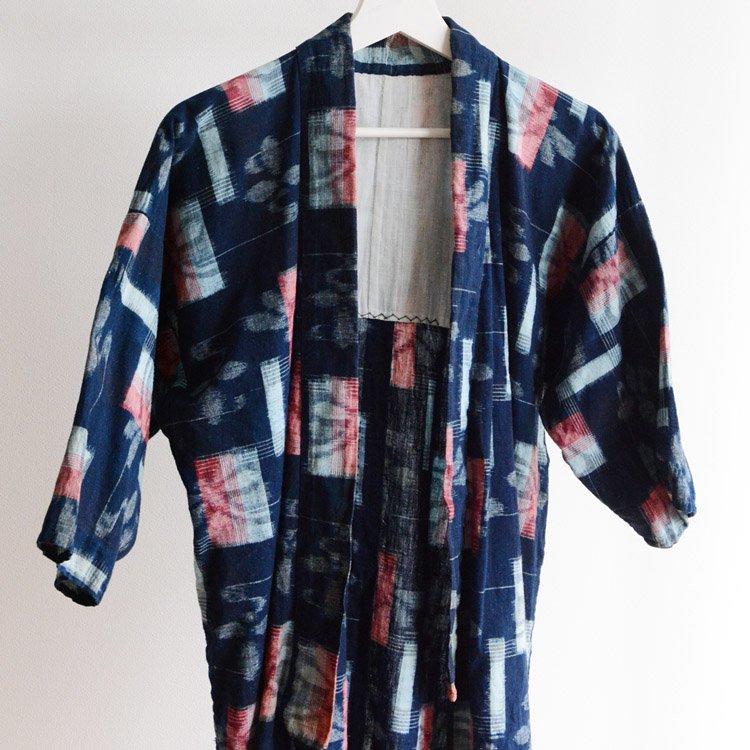 野良着 藍染 絣 木綿 着物 ジャパンヴィンテージ 昭和 | Noragi Jacket Indigo Kimono Kasuri Fabric Japan Vintage