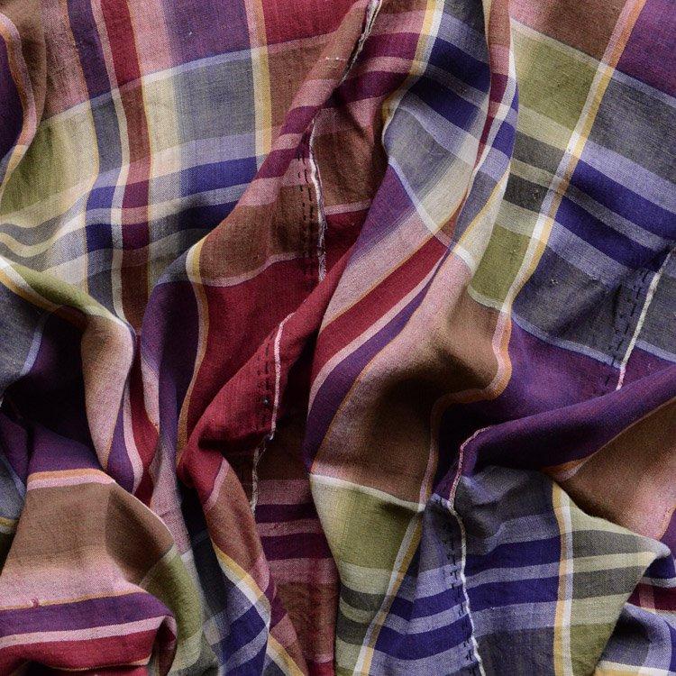 布団皮 古布 はぎれ ジャパンヴィンテージ ファブリック リメイク素材 | Japan Fabric Vintage Textile Futon Cover Hand Sewn