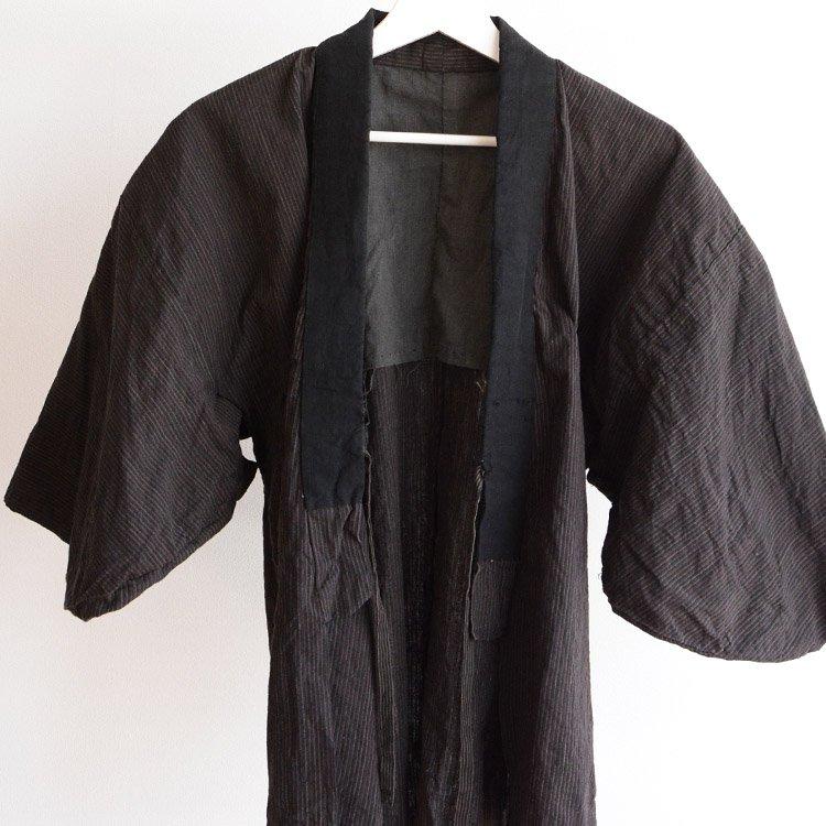 野良着 古着 上っ張り 木綿 着物 縞模様 ジャパンヴィンテージ 30年代   Noragi Jacket Kimono Japan Vintage 30s Cotton Stripe