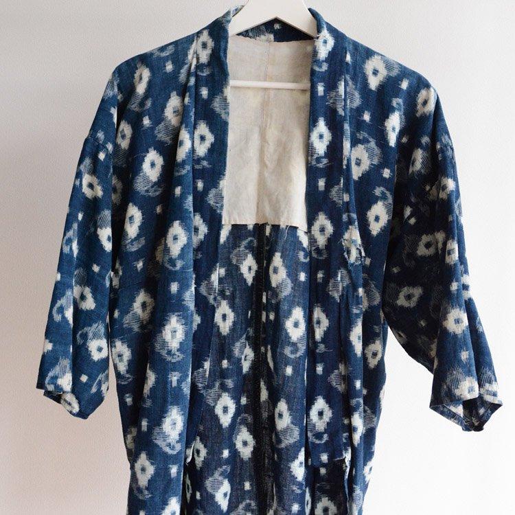 野良着 藍染 絣 ジャパンブルー インディゴ ヴィンテージ 着物 | Noragi Jacket Kasuri Fabric Indigo Kimono Japan Vintage