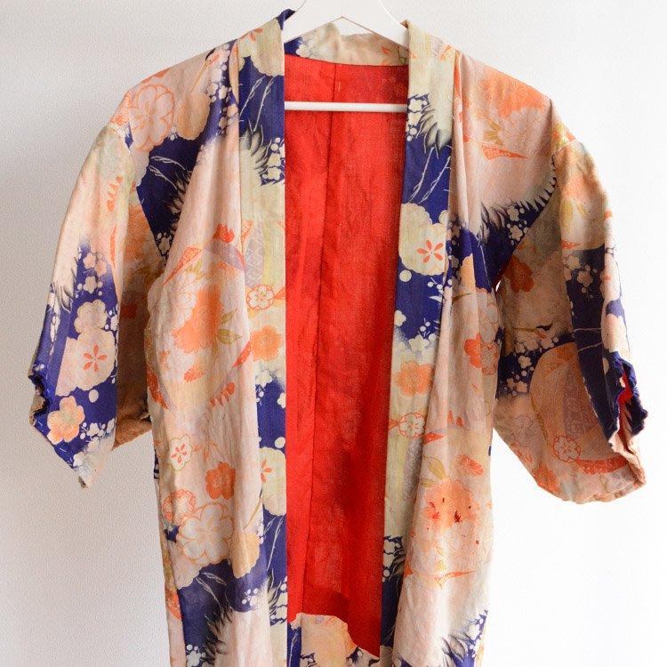 刺し子 アンティーク着物 鶴 ジャパンヴィンテージ 襤褸 | Boro Kimono Japan Vintage Sashiko Crane