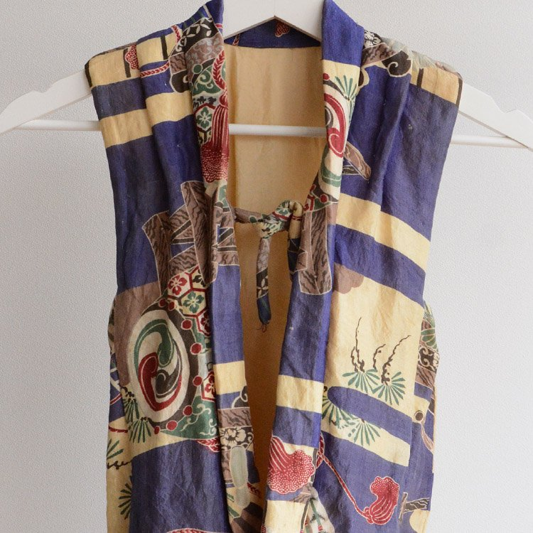 半纏 袖なし着物 綿入れ ジャパンヴィンテージ 大正 昭和 子供用   Kimono Vest Hanten Padded Japan Vintage Kids