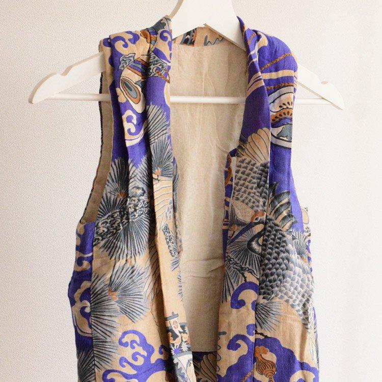 半纏 袖なし着物 綿入 ジャパンヴィンテージ 大正 昭和 子供用 鶴 | Kimono Vest Hanten Padded Japan Vintage Kids Crane