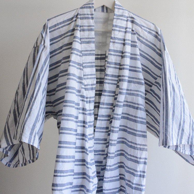 着物 横縞模様 木綿 ジャパンヴィンテージ 昭和 オックスフォード | Kimono Coat Japanese Vintage Cotton Stripe Oxford
