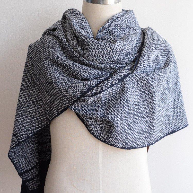 帯揚げ 絞り 古布 ジャパンヴィンテージ ストール 正絹 昭和 紺   Obiage Shibori Fabric Japanese Vintage Navy Textile Cloth