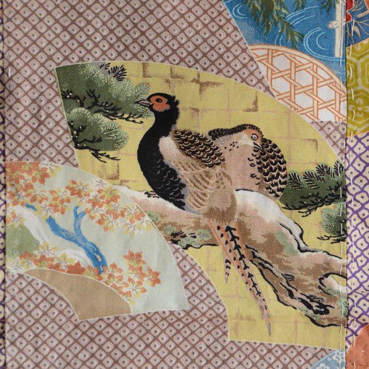 古布 はぎれ 雉子 ジャパンヴィンテージ ファブリック | Japanese Kimono Fabric Art Textiles Vintage Pheasant