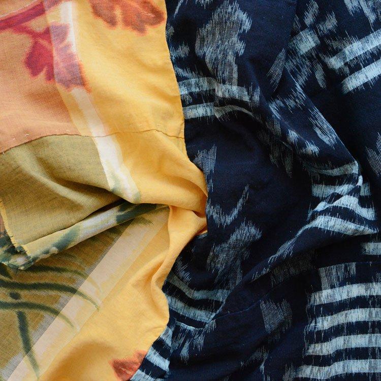 古布 藍染 絣 鳳凰 木綿 クレイジーパターン ジャパンヴィンテージ   Indigo Fabric Japanese Vintage Kasuri Crazy Pattern Textile