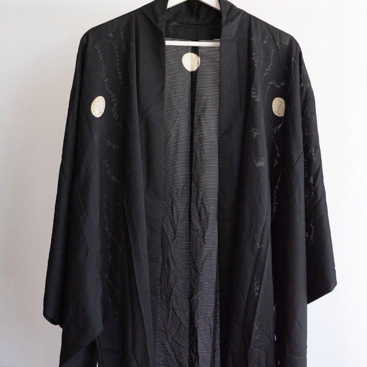 絽 羽織 着物 黒 ジャパンヴィンテージ 五つ紋 正礼装 | Haori Jacket Men Black Japan Vintage Five Crest Summer