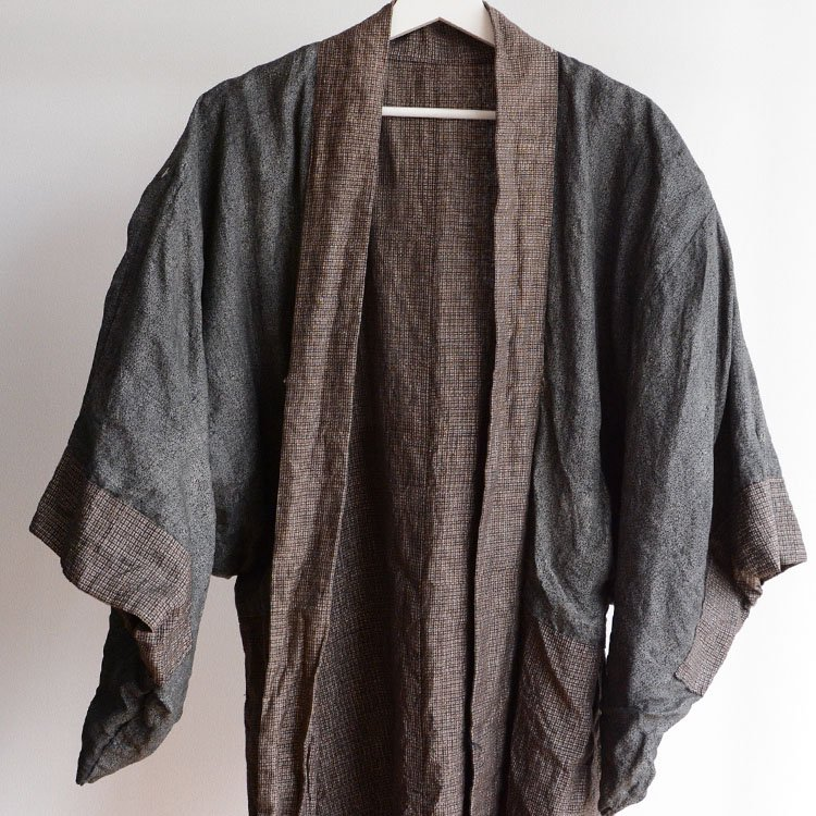 羽織 男 着物 小紋 格子 ジャケット ジャパンヴィンテージ 昭和 | Haori Men Kimono Jacket Japan Vintage Showa