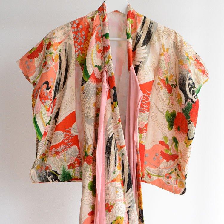 着物 鶴柄 ジャパンヴィンテージ 紐飾り 子供 昭和 | Kimono Kids Japan Vintage Crane Flower Pattern
