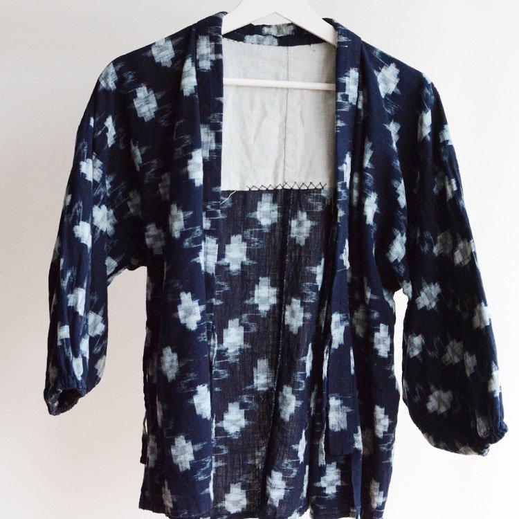 <img class='new_mark_img1' src='https://img.shop-pro.jp/img/new/icons8.gif' style='border:none;display:inline;margin:0px;padding:0px;width:auto;' />野良着 藍染 絣 木綿 ジャパンヴィンテージ 30〜40年代 上っ張り | Noragi Jacket Japan Vintage Indigo Kimono Kasuri Uwappari