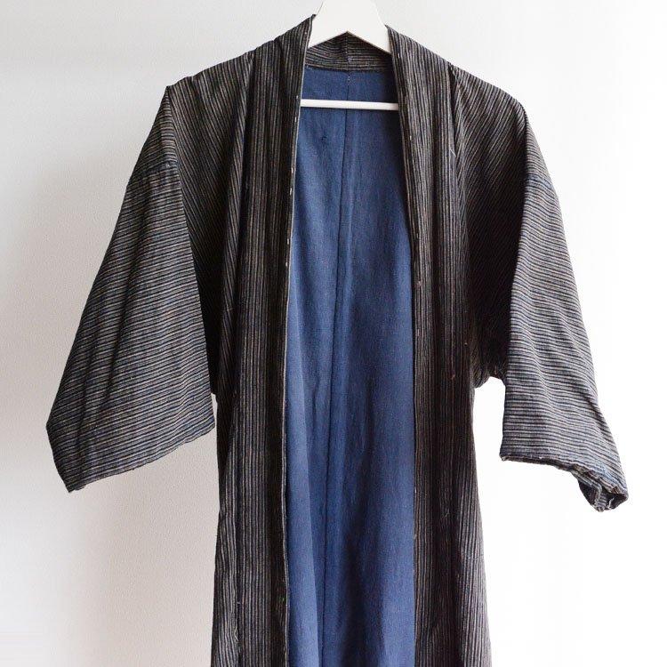 <img class='new_mark_img1' src='https://img.shop-pro.jp/img/new/icons8.gif' style='border:none;display:inline;margin:0px;padding:0px;width:auto;' />野良着 藍染 縞模様 襤褸 羽織 着物 ジャパンヴィンテージ 大正 昭和 | Noragi Jacket Haori Kimono Japan Vintage Indigo Stripe Boro