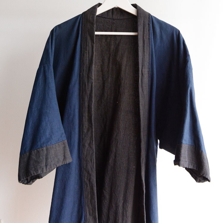 <img class='new_mark_img1' src='https://img.shop-pro.jp/img/new/icons8.gif' style='border:none;display:inline;margin:0px;padding:0px;width:auto;' />野良着 古着 ジャパンヴィンテージ 30〜40年代 縞模様 木綿 着物   Noragi Jacket Japanese Vintage Kimono Cotton Stripe