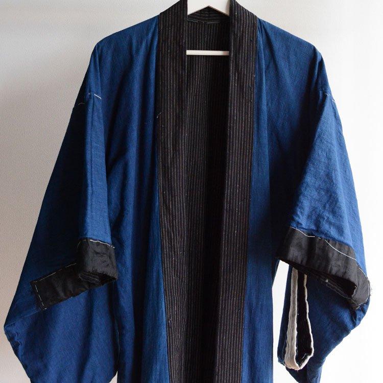 <img class='new_mark_img1' src='https://img.shop-pro.jp/img/new/icons8.gif' style='border:none;display:inline;margin:0px;padding:0px;width:auto;' />着物 野良着 藍染 木綿 縞模様 ジャパンヴィンテージ 大正 昭和 | Kimono Noragi Jacket Japan Vintage Indigo Cotton Stripe