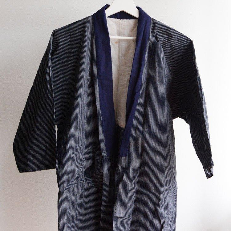 野良着 古着 半纏 木綿 縞模様 ジャパンヴィンテージ 昭和 | Noragi Men Kimono Jacket Hanten Japan Vintage Cotton Stripe