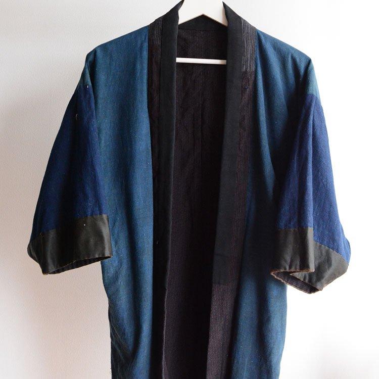 野良着 藍染 クレイジーパターン 縞模様 ジャパンヴィンテージ 大正 昭和   Noragi Jacket For Men Crazy Patchwork Indigo Japan Vintage