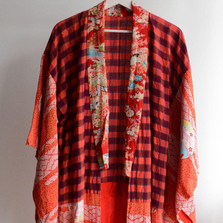 長襦袢 クレイジーパターン アンティーク着物 ジャパンヴィンテージ 昭和   Juban Kimono Robe Japan Vintage Crazy Pattern