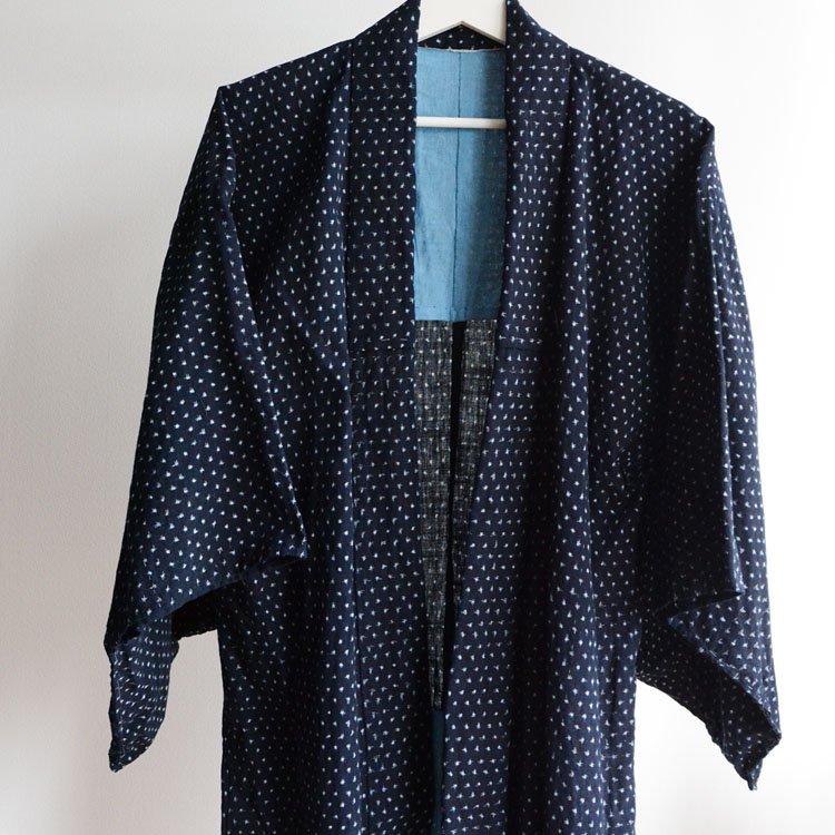蚊絣 雪ん子 藍染 着物 ジャパンヴィンテージ 30〜40年代 長着 | Indigo Kimono Robe Kasuri Fabric Cotton Japan Vintage
