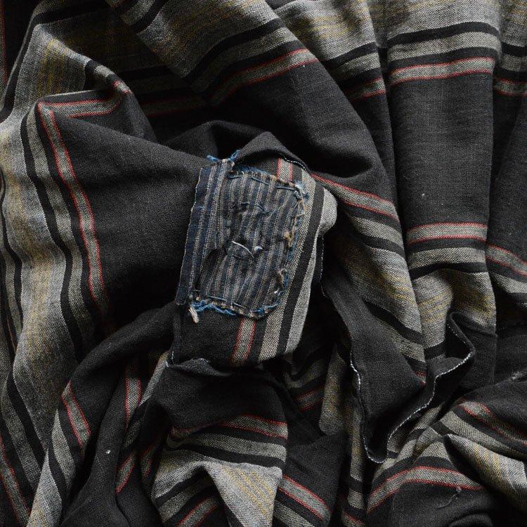 布団皮 古布 黒 木綿 縞模様 ジャパンヴィンテージ ファブリック 大正 昭和 | Japanese Fabric Vintage Black Cotton Futon Cover