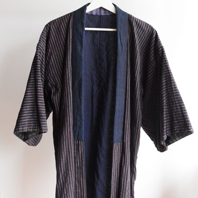 野良着 藍染襟 木綿 縞模様 ジャパンヴィンテージ 30〜40年代 | Noragi Jacket Japanese Vintage Kimono Cotton Stripe 30〜40s