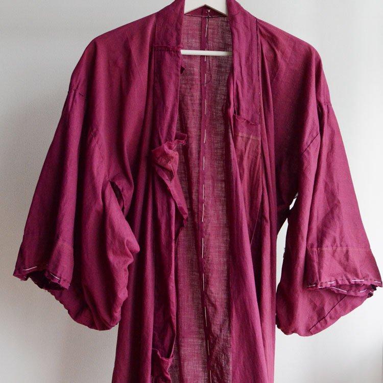 木綿 着物 長着 ジャパンヴィンテージ 30〜40年代 ほどき   Kimono Vintage Japanese Cotton Coat 30〜40s Antique