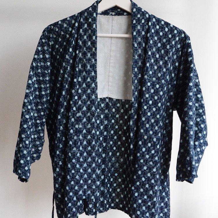 野良着 藍染 絣 木綿 着物 ジャパンヴィンテージ 上っ張り 40〜50年代 | Noragi Jacket Indigo Kimono Japan Vintage Kasuri Fabric