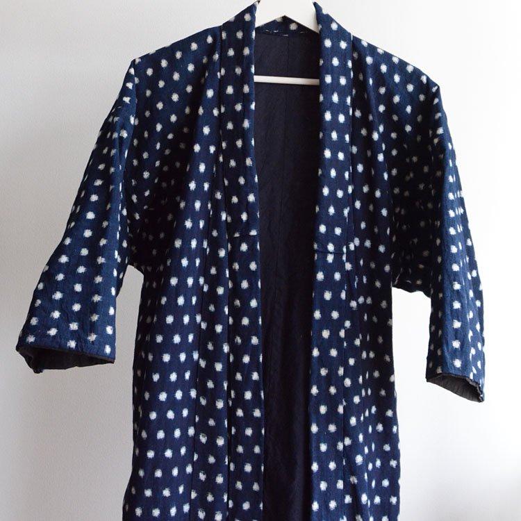 雪ん子 絣 着物 藍染 ジャパンヴィンテージ 30〜40年代 | Indigo Kimono Robe Kasuri Fabric Cotton Japan Vintage 30〜40s