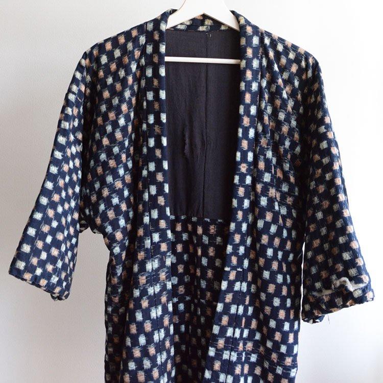 綿入れ半纏 藍染 着物 絣 木綿 ジャパンヴィンテージ 30〜50年代 | Hanten Jacket Indigo Kimono Padded Kasuri Fabric