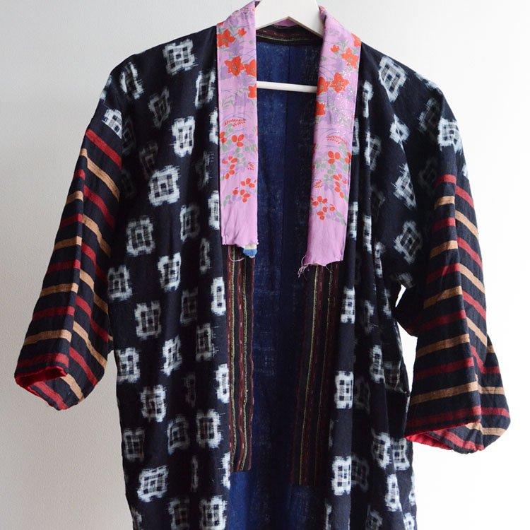 藍染 着物 絣 クレイジーパターン 縞模様 木綿 ジャパンヴィンテージ 大正 昭和 | Indigo Kimono Robe Crazy Pattern Kasuri Japan Vintage