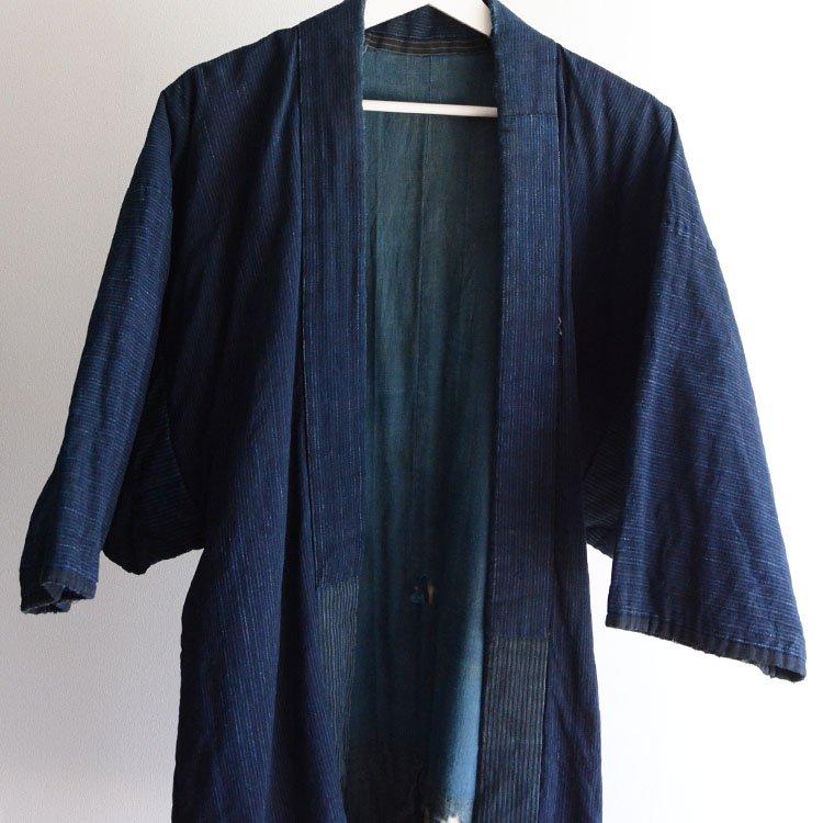 綿入れ半纏 藍染 浅葱色 クレイジーパターン ジャパンヴィンテージ 明治 | Hanten Padded Indigo Kimono Jacket Japan Vintage
