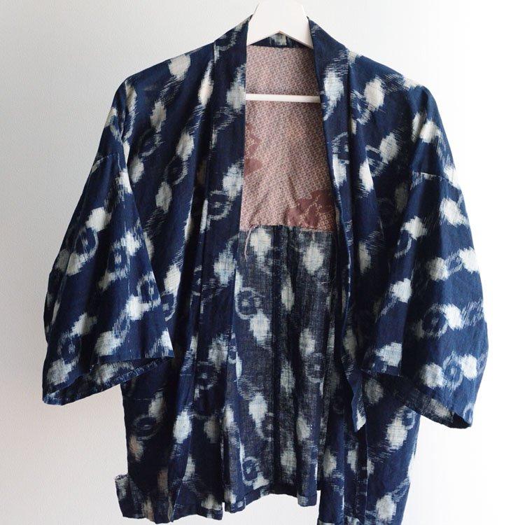 <img class='new_mark_img1' src='https://img.shop-pro.jp/img/new/icons8.gif' style='border:none;display:inline;margin:0px;padding:0px;width:auto;' />野良着 藍染 絣 着物 木綿 ジャパンヴィンテージ 30年代 | Noragi Jacket Kasuri Fabric Indigo Kimono Japan Vintage 30s
