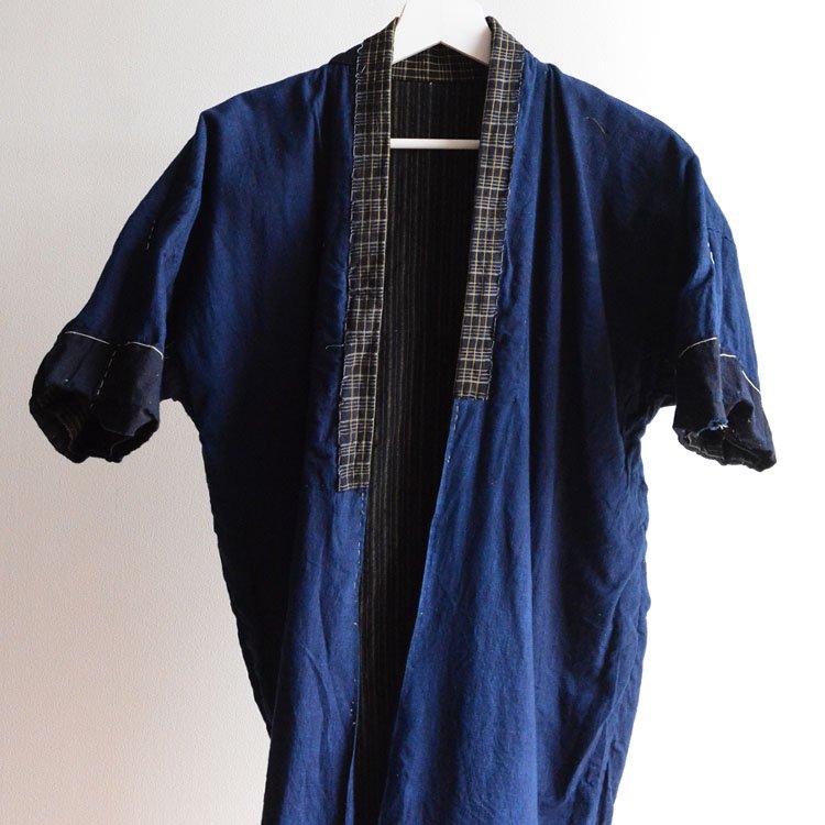 <img class='new_mark_img1' src='https://img.shop-pro.jp/img/new/icons8.gif' style='border:none;display:inline;margin:0px;padding:0px;width:auto;' />野良着 藍染 木綿 縞模様 ジャパンヴィンテージ 大正 着物 | Noragi Jacket Men Indigo Kimono Japan Vintage Cotton Stripe